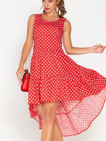 Летнее короткое платье в горох с асимметрией и оборкой, фото 1
