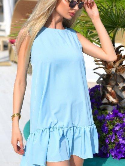 Платье свободного кроя голубого цвета с оборкой под пояс, фото 1