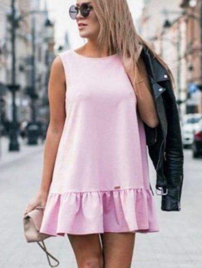 Платье сарафан свободного кроя розового цвета а с оборкой под пояс, фото 1