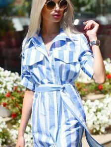 Льняное короткое платье рубашка на пуговицах и с поясом в полоску