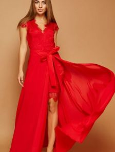 Вечернее красное кружевное платье трансформер со съемной юбкой