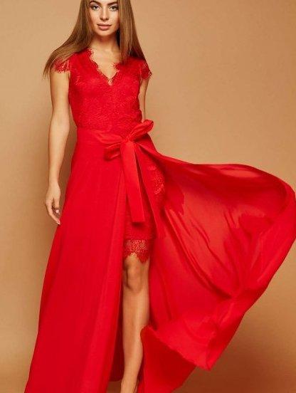Вечернее красное кружевное платье, фото 1