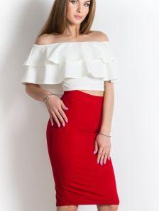 Красная юбка карандаш длины миди с разрезом