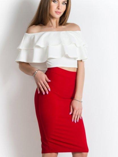 Красная юбка карандаш длины миди с разрезом, фото 1