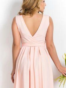Персиковое платье в пол с открытой спиной