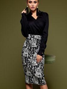 Офисная юбка миди с высокой посадкой и резинкой на талии
