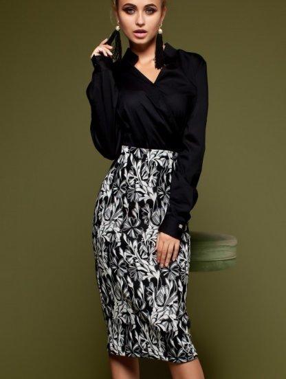Офисная юбка миди с высокой посадкой и резинкой на талии, фото 1