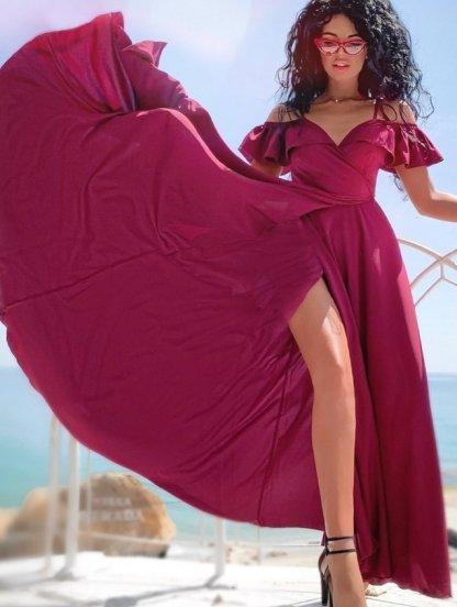 Бордовое длинное платье с большой юбкой на тонких бретелях, фото 1