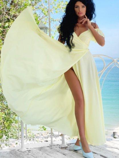 Желтое длинное платье на запах с воланами на рукаве, фото 1