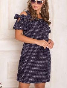 Летнее короткое синее платье в горошек на короткий рукав