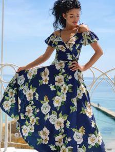 Летнее длинное платье в пол на бретелях на запах с цветочным принтом
