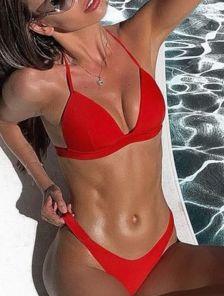 Красный раздельный купальни с трусиками на резинке