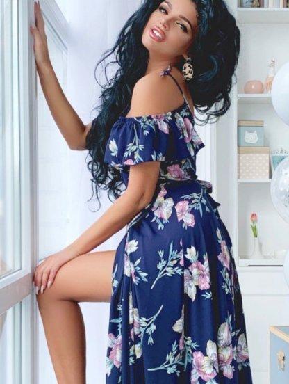 Вечернее нарядное платье в пол с цветами, фото 1