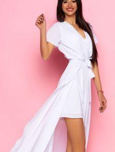 Белое шифоновое платье комбинезон с длинной юбкой