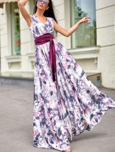 Летнее шелковое платье на запах с цветами под пояс
