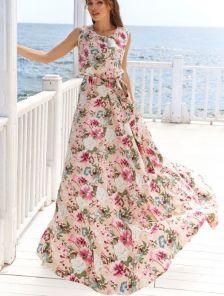 Длинное платье с цветочным принитом и поясом
