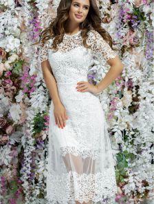 Вечернее длинное белое платье