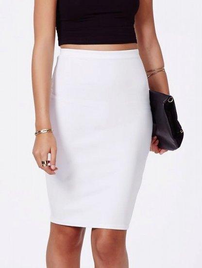 Узкая белая юбка длины миди с разрезом сзади, фото 1