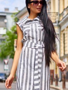 Платье рубашка длины миди из льна в полоску с карманами под пояс