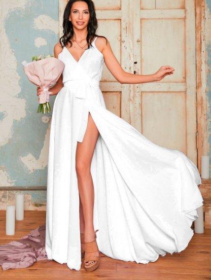 Белое длинное вечернее платье, фото 1