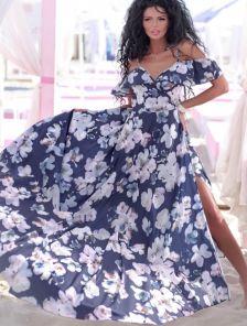 Синее вечернее нарядное платье с открытыми плечами