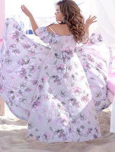 Вечернее красивое платье c цветами на лето