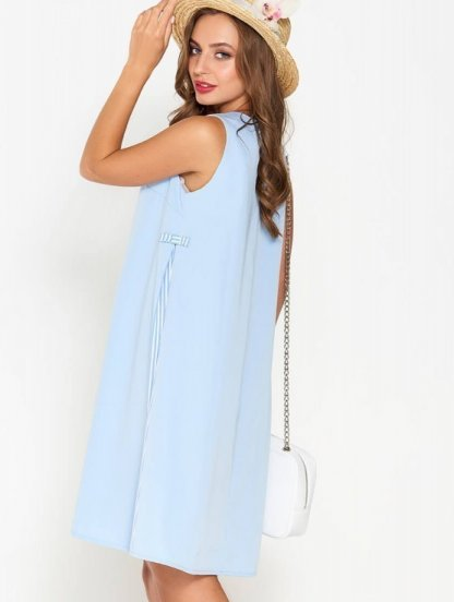Голубое летнее короткое платье с вставками в полоску длины миди, фото 1