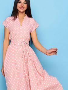 Длинное розовое платье в горох на короткий рукав