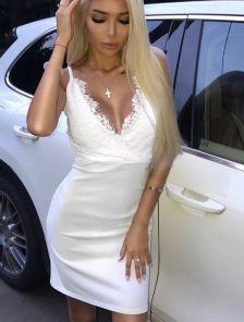 Кружевное короткое белое платье на роспись