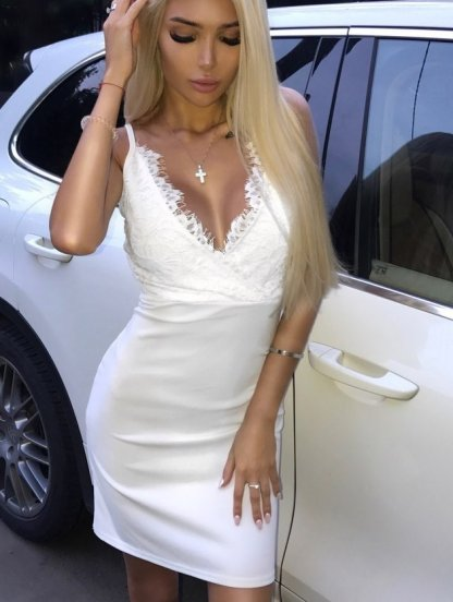 Кружевное короткое белое платье на роспись, фото 1