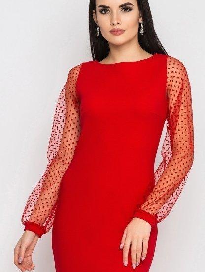 Красное платье-миди на длинный рукав, фото 1