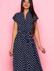 Длинное тёмно-синее платье в горох на короткий рукав