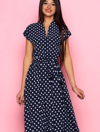 Длинное тёмно-синее платье в горох на короткий рукав, фото 1