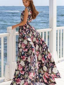 Длинное платье с цветочным принитом с поясом