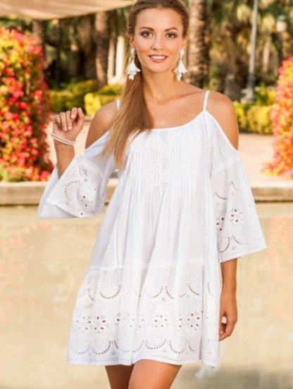 Летнее мини платье туника в белом цвете с цветочным узором, фото 1