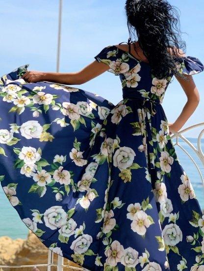 Летнее длинное платье в пол на бретелях на запах с цветочным принтом, фото 1