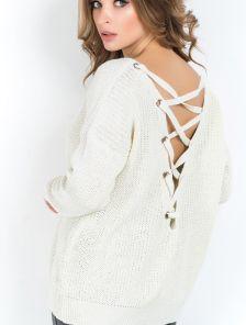Белый женский свитер со шнуровкой на спинке