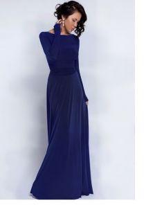 Синее длинное вечернее платье с длинным рукавом и декоративным поясом на талии