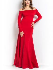 Вечернее длинное красное платье в пол с открытыми плечами