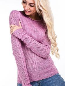 Розовый мягкий женский свитер с тонкой пряжи и длинным рукавчиком