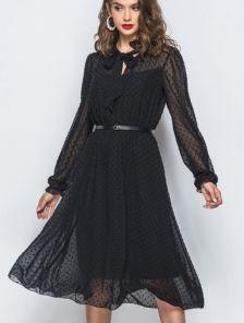 Черное шифоновое платье миди с длинным рукавом и фактурным горохом