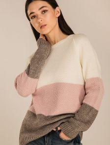 Женский вязаный светлый теплый свитер из фактурной вязки