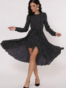 Черное короткое платье в горошек