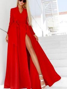 Красное платье в пол на запах на длинный рукав