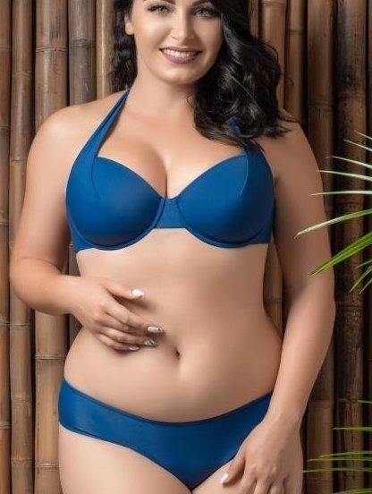 Синий раздельный купальник большого размера, фото 1