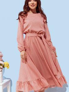 Розовое короткое платье в горошек на длинный рукав