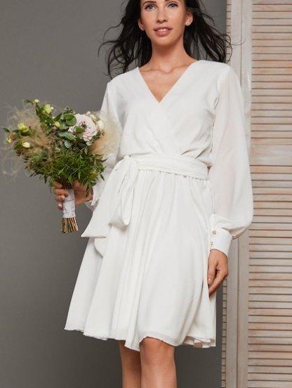 Нарядное короткое белое платье на девичник, фото 1