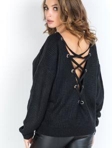 Черный женский свитер со шнуровкой на спинке