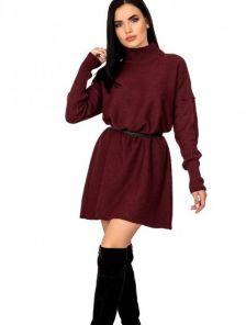 Бордовое теплое шерстяное платье свитер с горловной на длинный рукав