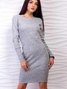 Облегающее комбинированное теплое платье с длинным рукавом